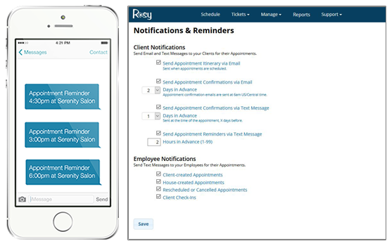 rosy automatically sends a text message reminder hours before as well as an email and text confirmation days before every appointment