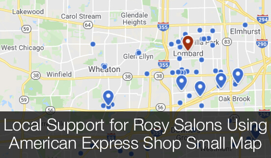 Local Support for Rosy Salons Using American Express Shop Small Map